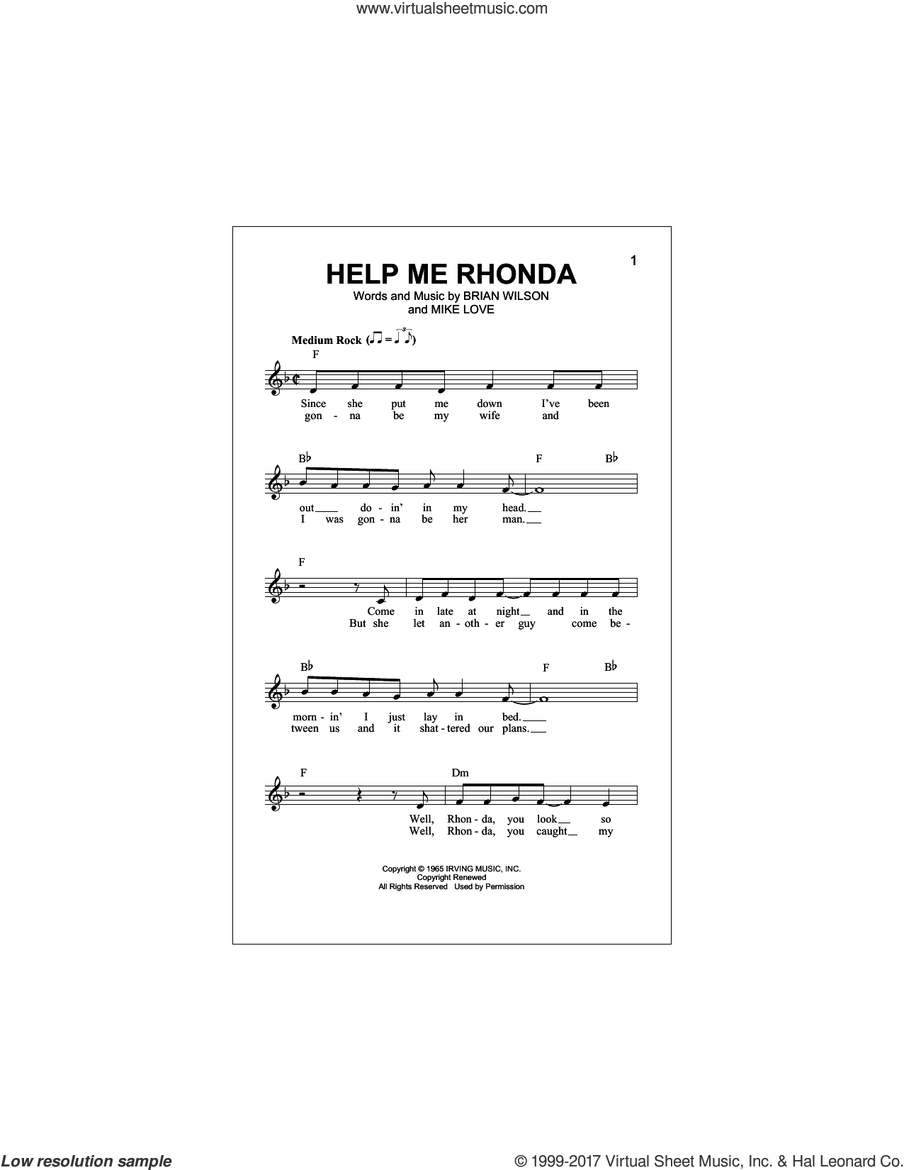 Help Me Rhonda sheet music for voice and other instruments (fake book) by The Beach Boys, Brian Wilson and Mike Love, intermediate skill level