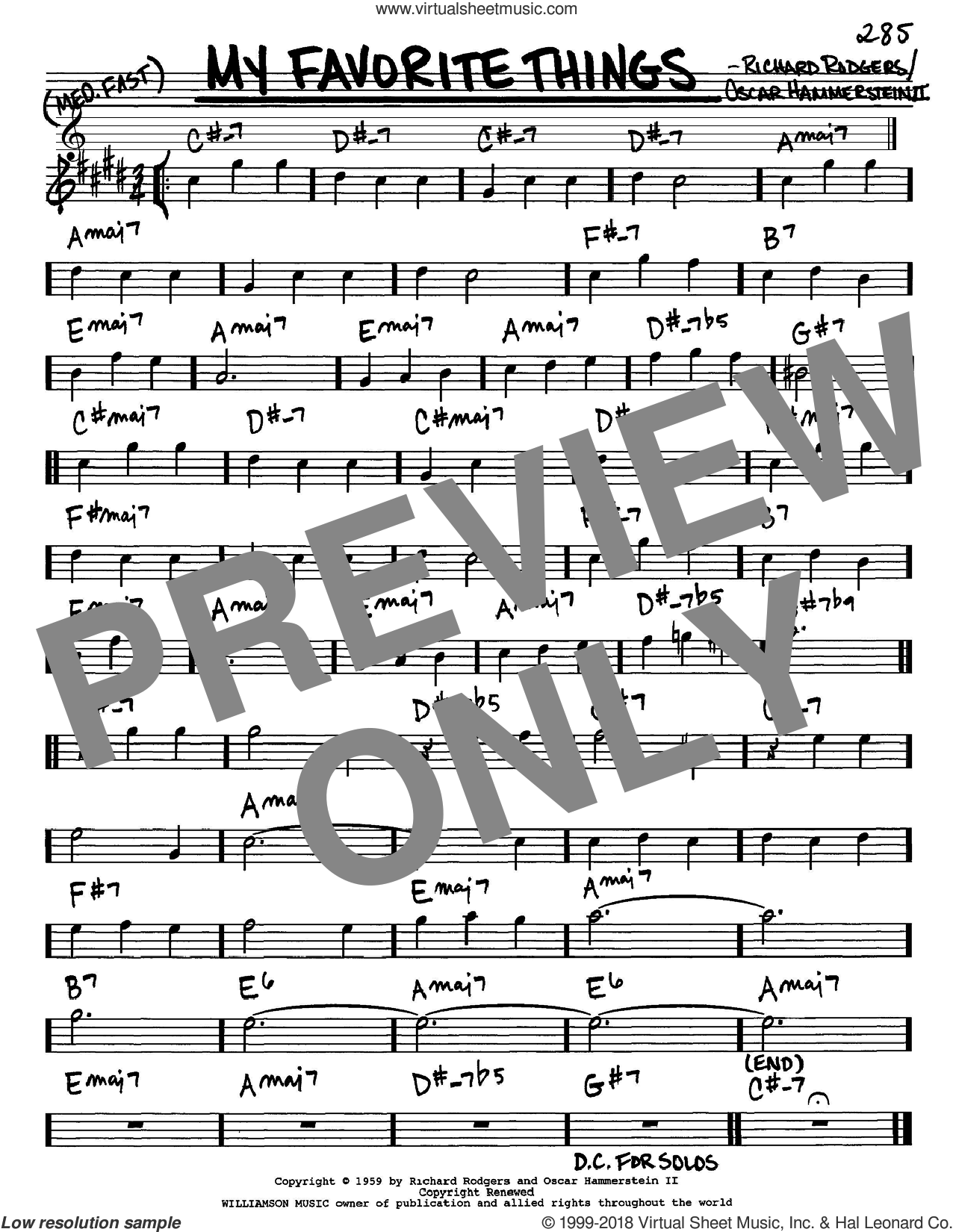 My Favorite Things sheet music for voice and other instruments (Eb) by Rodgers & Hammerstein, Oscar II Hammerstein and Richard Rodgers. Score Image Preview.