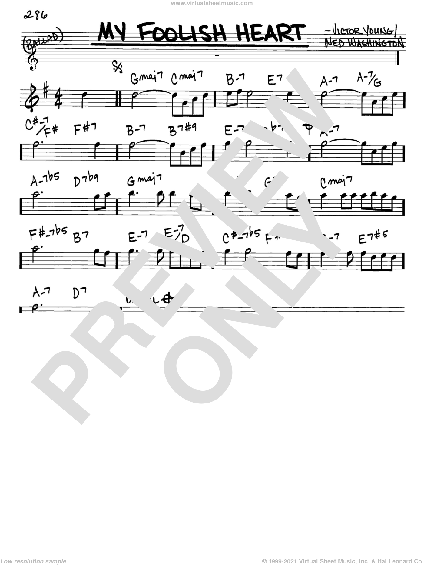 My Foolish Heart sheet music for voice and other instruments (in Eb) by Ned Washington and Victor Young, intermediate. Score Image Preview.
