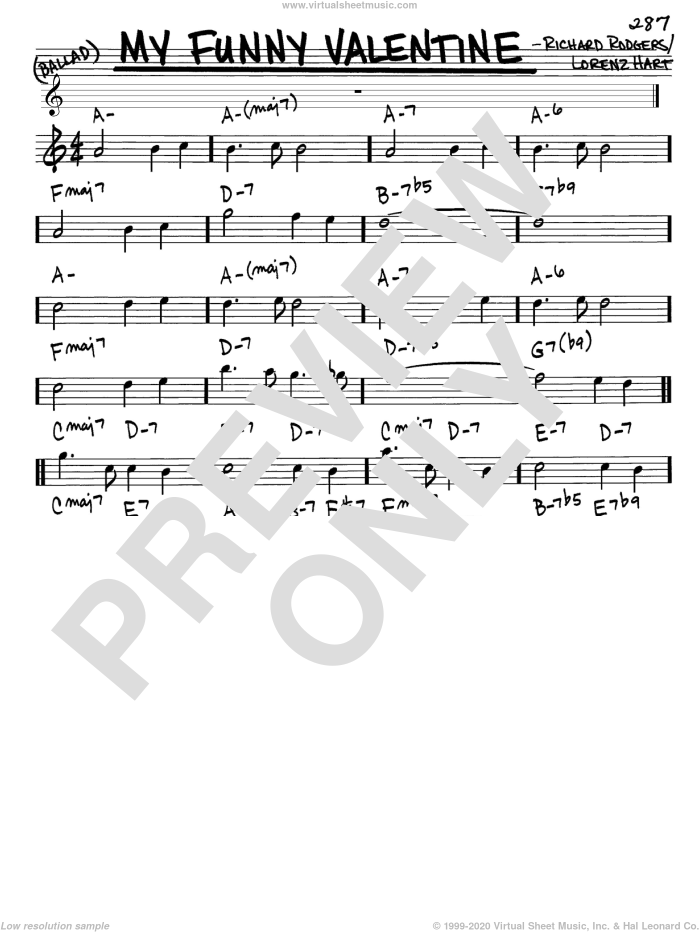My Funny Valentine sheet music for voice and other instruments (Eb) by Richard Rodgers