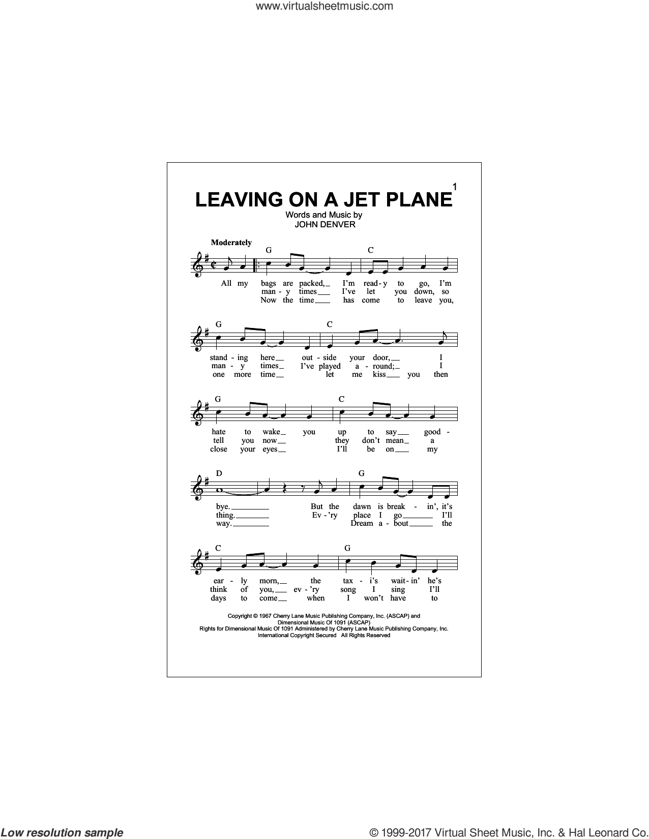 Leaving On A Jet Plane sheet music for voice and other instruments (fake book) by John Denver and Peter, Paul & Mary, intermediate skill level