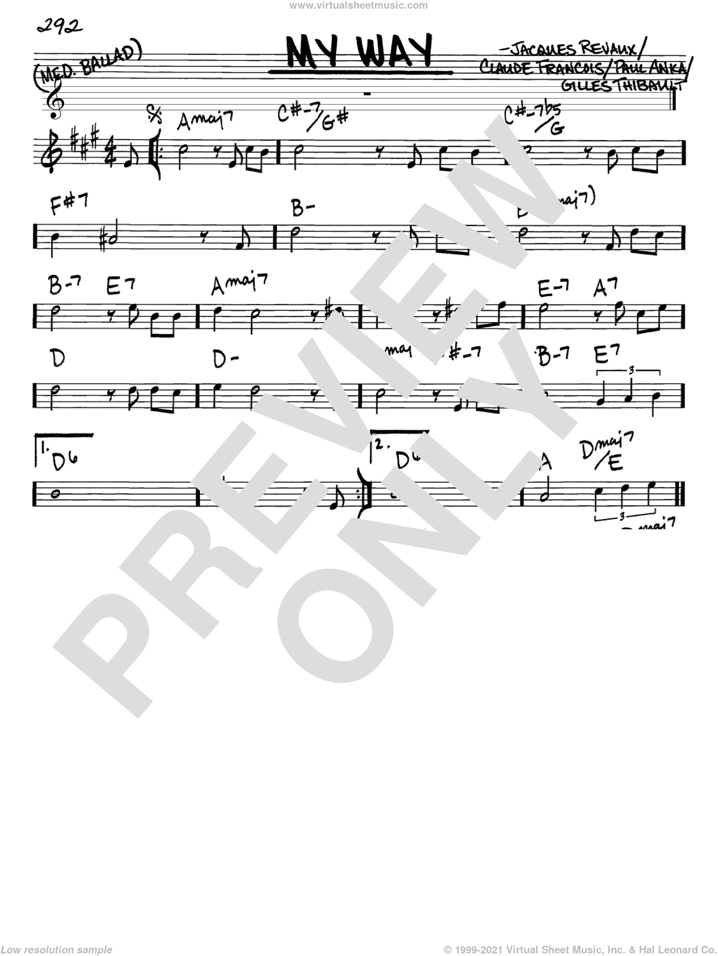 My Way sheet music for voice and other instruments (Eb) by Paul Anka, Elvis Presley and Frank Sinatra