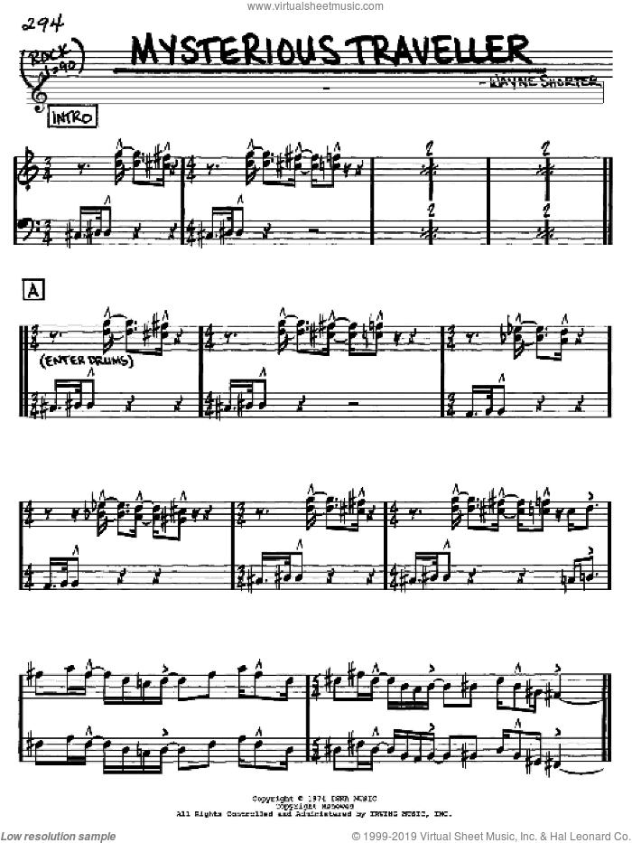 Mysterious Traveller sheet music for voice and other instruments (Eb) by Wayne Shorter, intermediate voice. Score Image Preview.