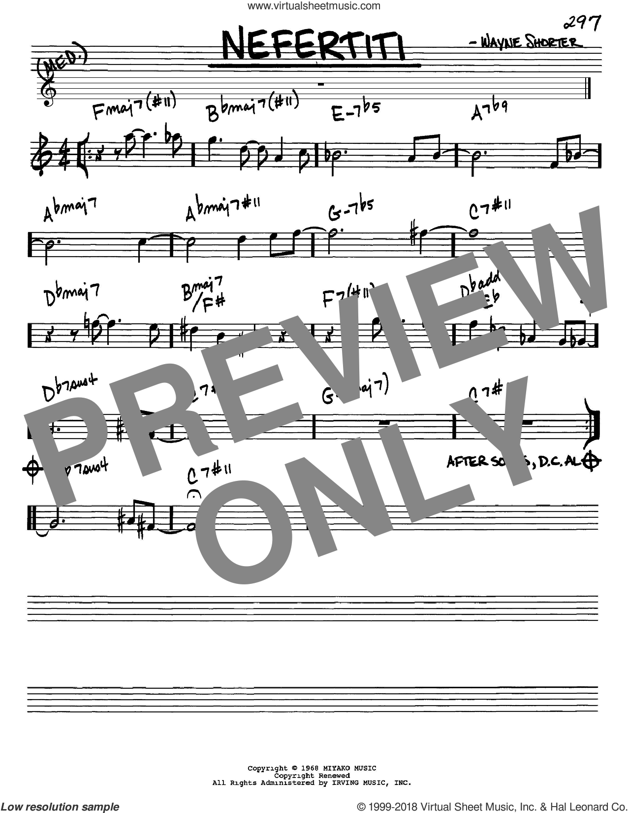 Nefertiti sheet music for voice and other instruments (Eb) by Wayne Shorter, intermediate voice. Score Image Preview.