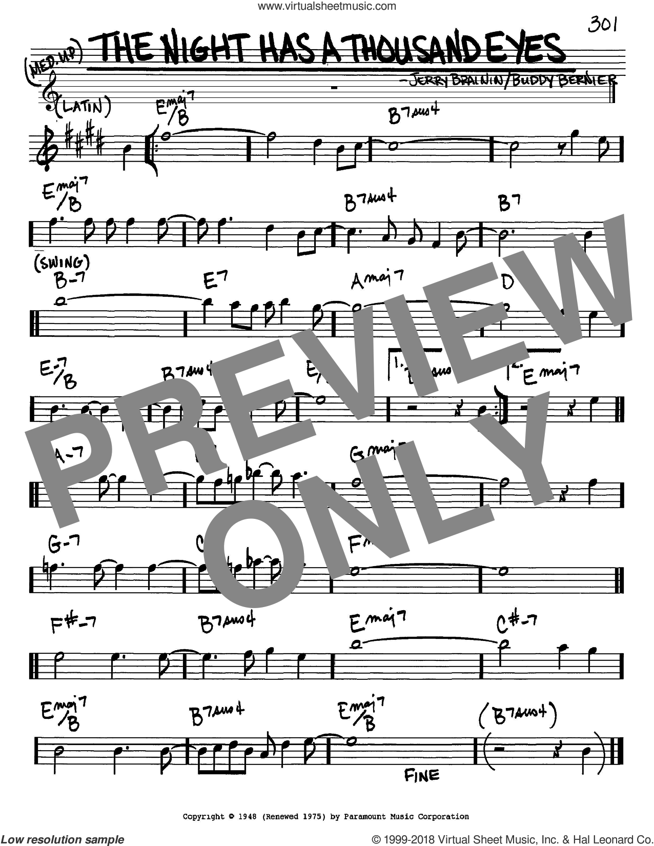 The Night Has A Thousand Eyes sheet music for voice and other instruments (in Eb) by Buddy Bernier, intermediate. Score Image Preview.