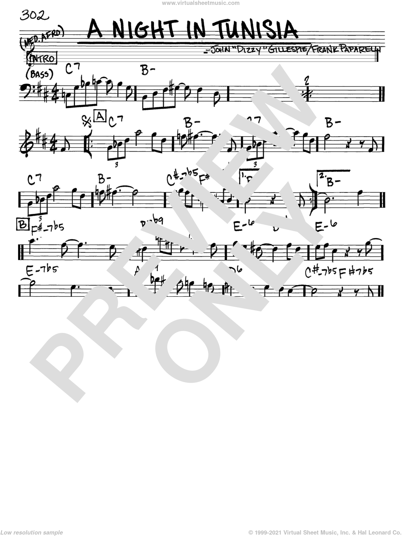 A Night In Tunisia sheet music for voice and other instruments (in Eb) by Dizzy Gillespie, intermediate. Score Image Preview.