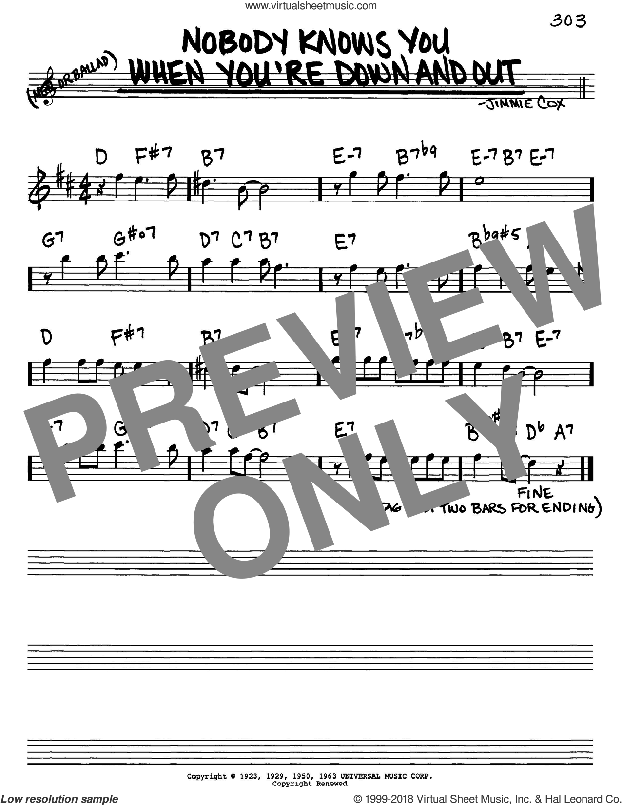 Nobody Knows You When You're Down And Out sheet music for voice and other instruments (Eb) by Jimmie Cox. Score Image Preview.