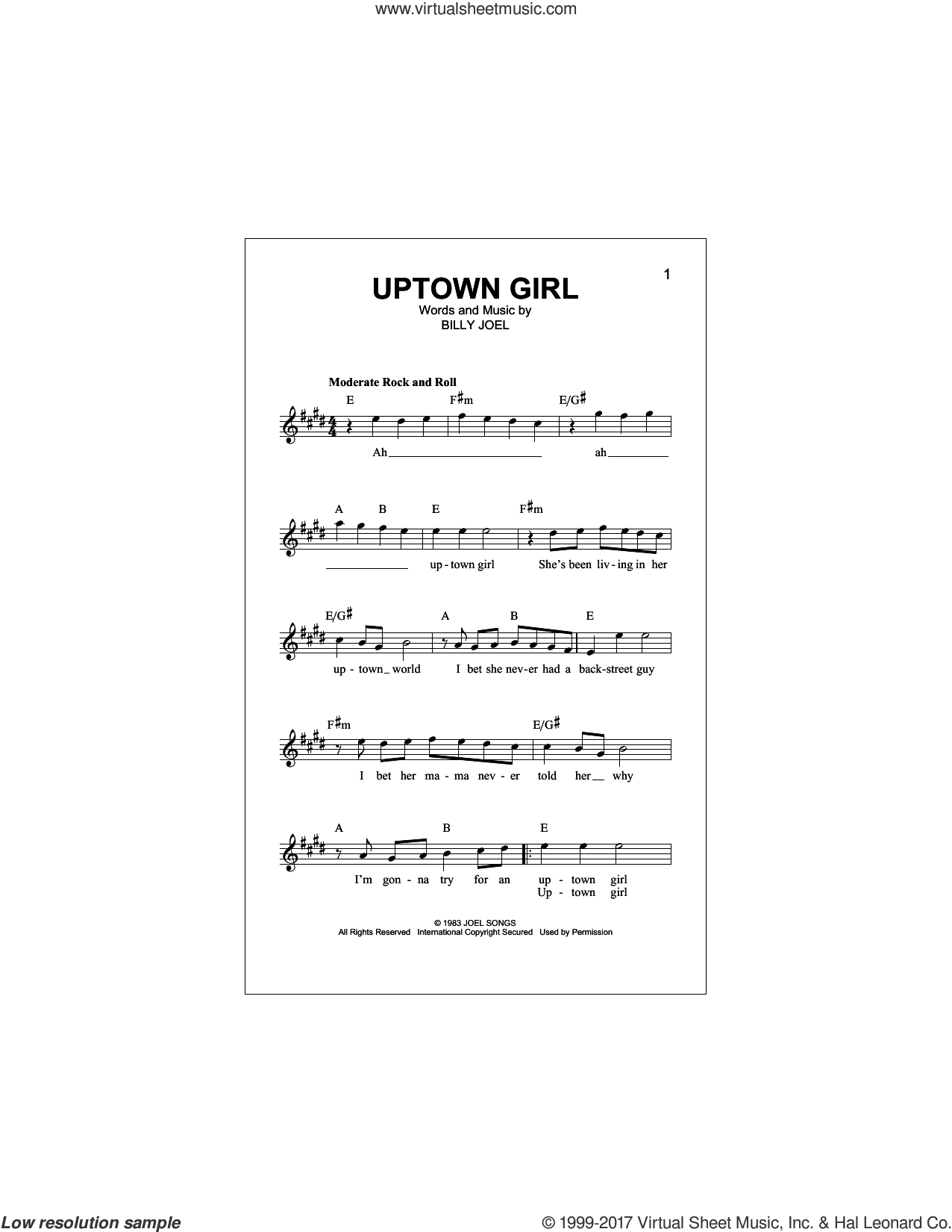 Uptown Girl sheet music for voice and other instruments (fake book) by Billy Joel, intermediate skill level
