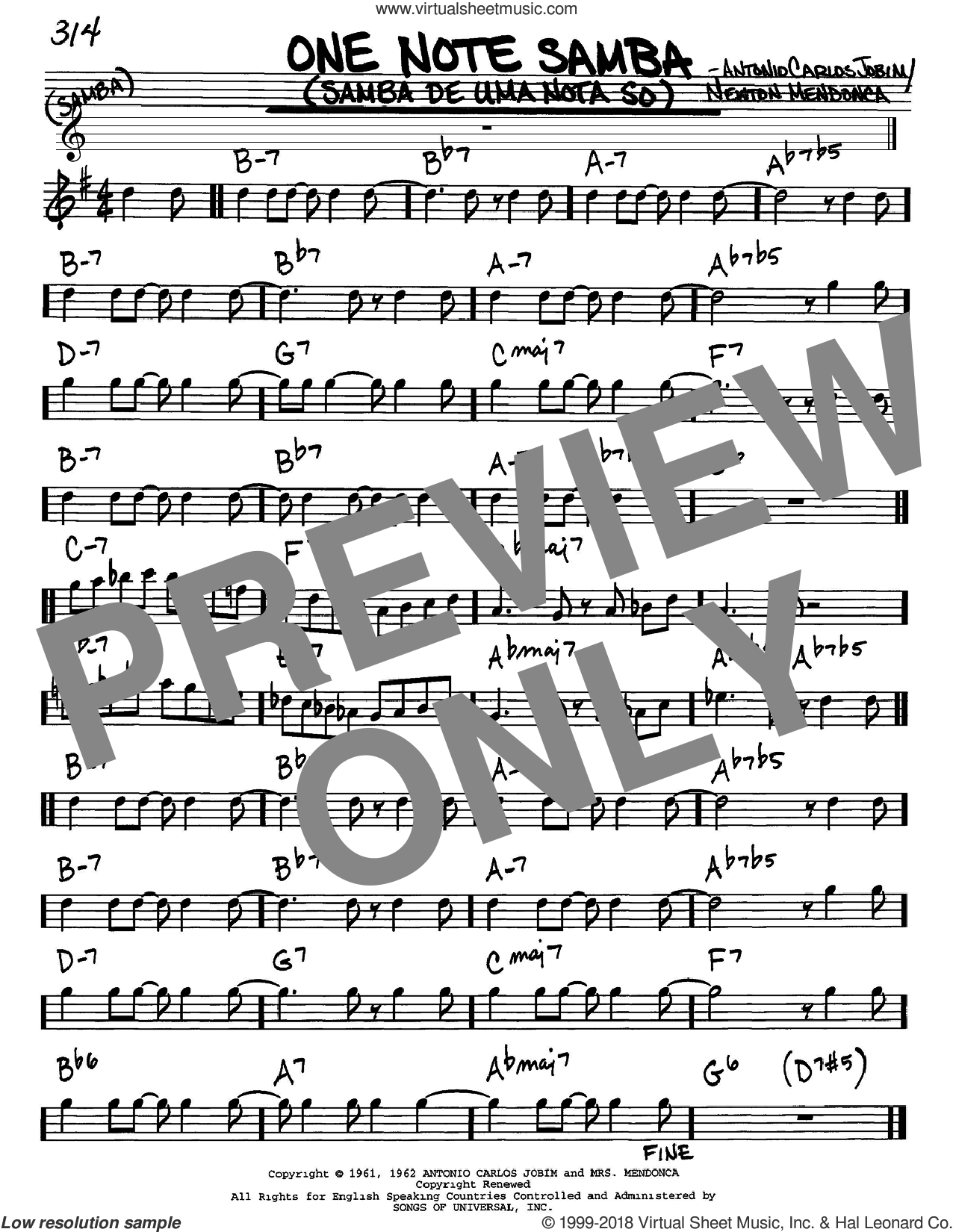 One Note Samba (Samba De Uma Nota So) sheet music for voice and other instruments (Eb) by Newton Mendonca and Antonio Carlos Jobim. Score Image Preview.