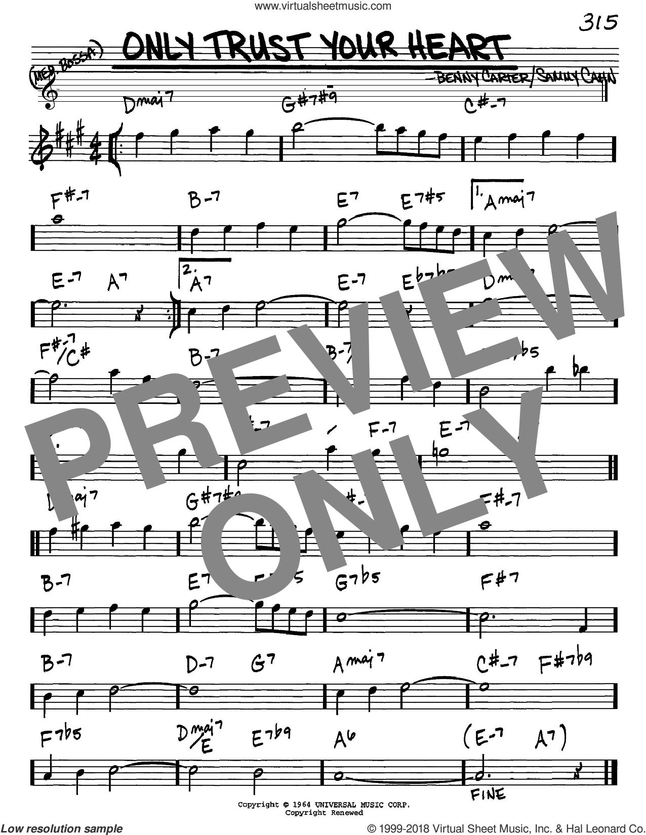 Only Trust Your Heart sheet music for voice and other instruments (Eb) by Benny Carter and Sammy Cahn. Score Image Preview.