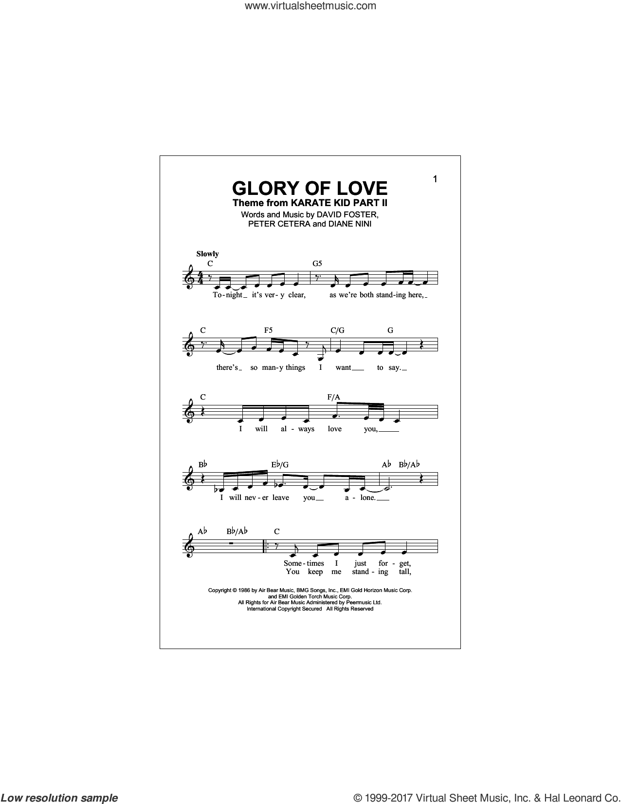 Glory Of Love sheet music for voice and other instruments (fake book) by Peter Cetera, David Foster and Diane Nini, intermediate skill level