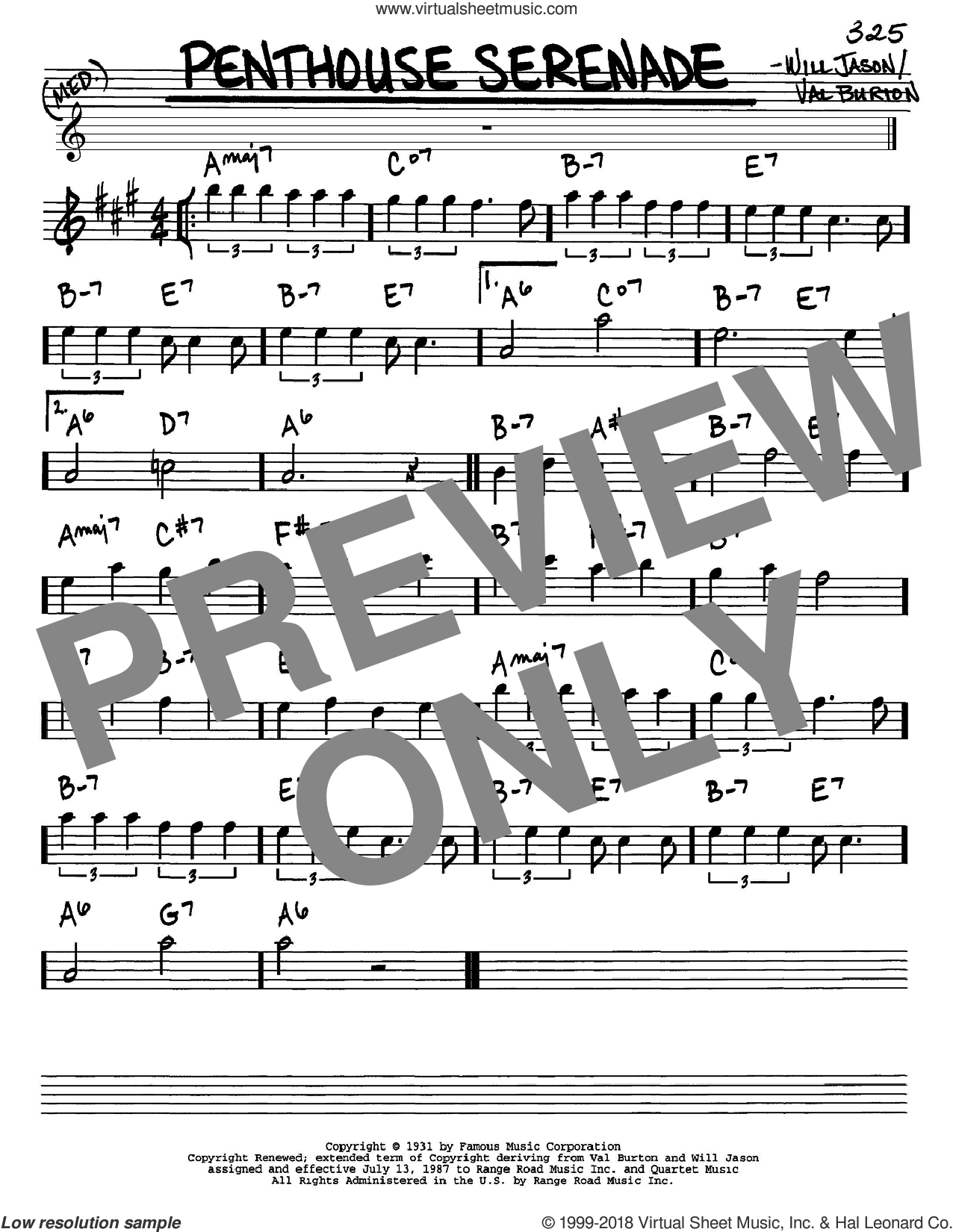 Penthouse Serenade sheet music for voice and other instruments (in Eb) by Nat King Cole, Val Burton and Will Jason, intermediate skill level