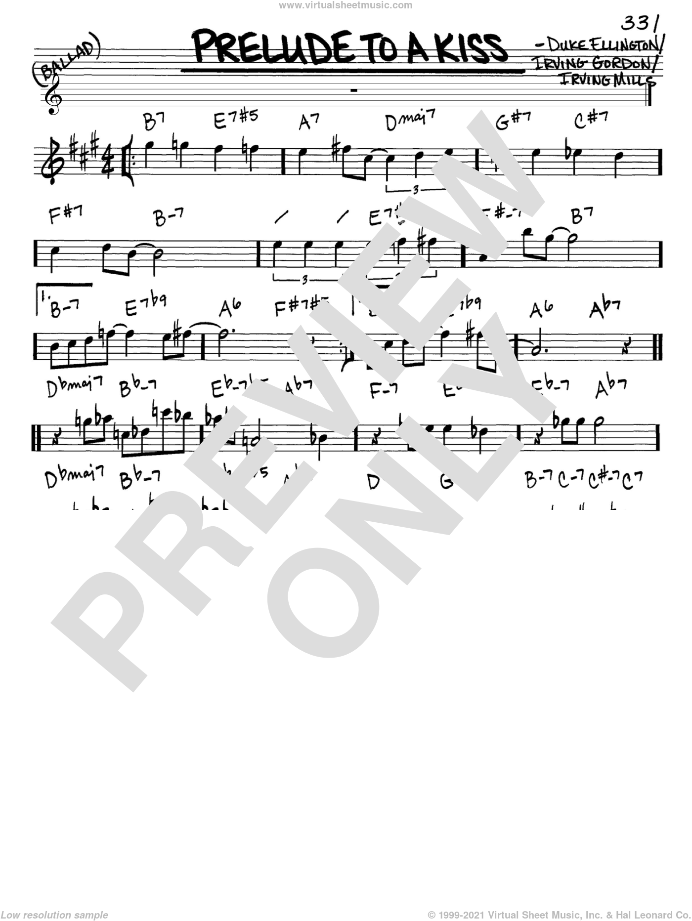 Prelude To A Kiss sheet music for voice and other instruments (in Eb) by Duke Ellington, Irving Gordon and Irving Mills, intermediate