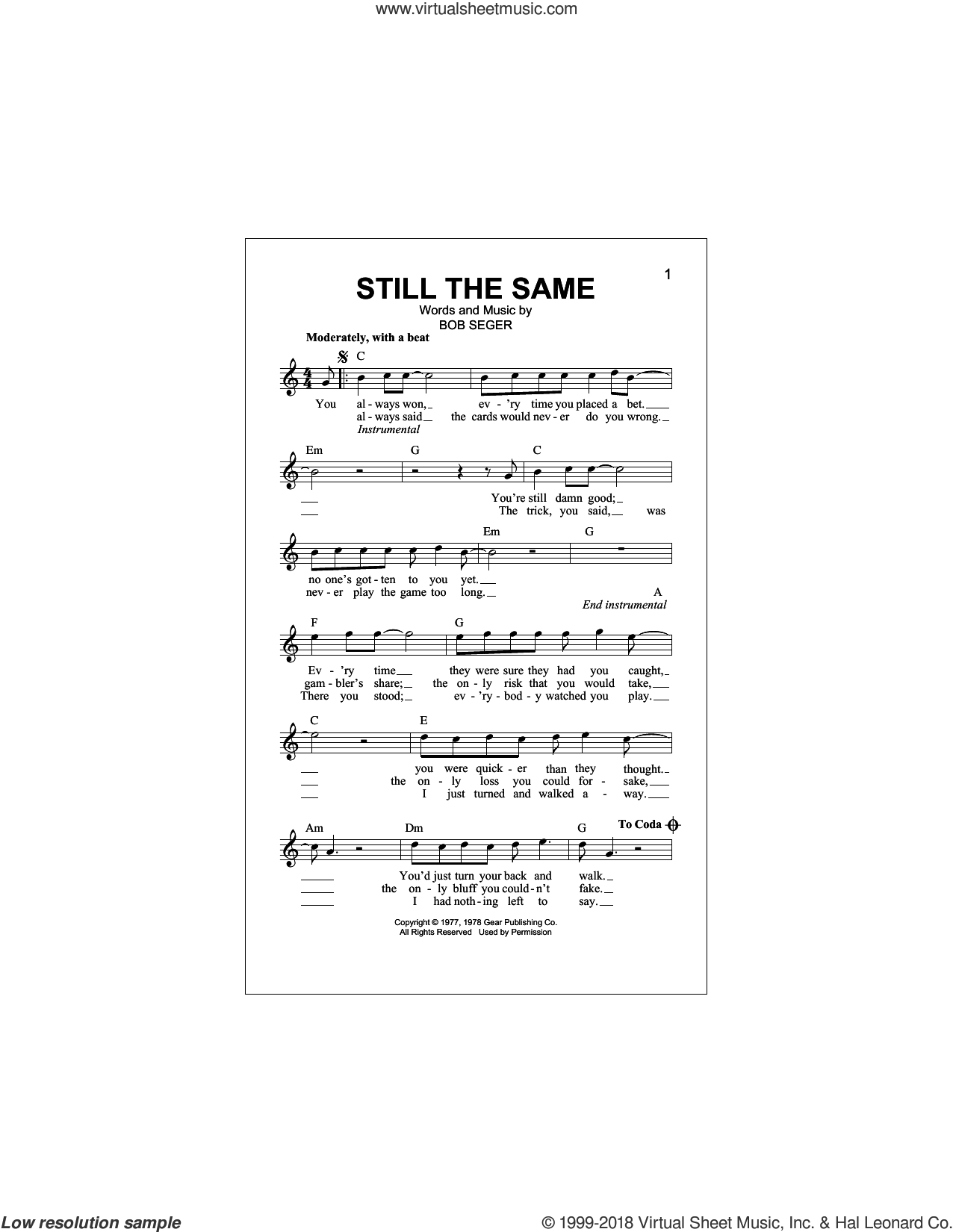 Still The Same sheet music for voice and other instruments (fake book) by Bob Seger, intermediate skill level