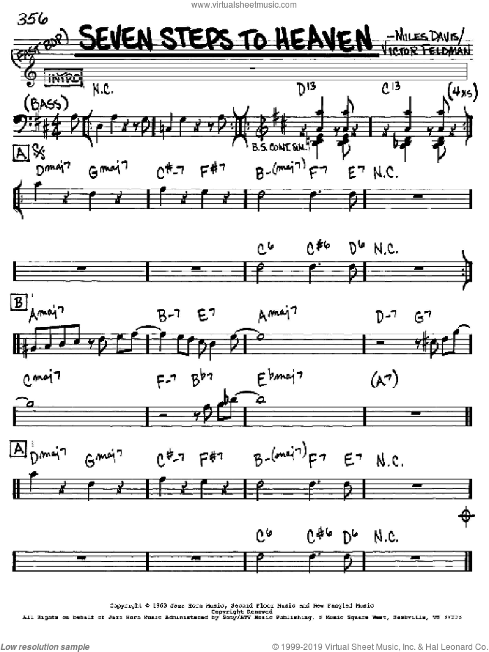 Seven Steps To Heaven sheet music for voice and other instruments (in Eb) by Miles Davis and Victor Feldman, intermediate. Score Image Preview.