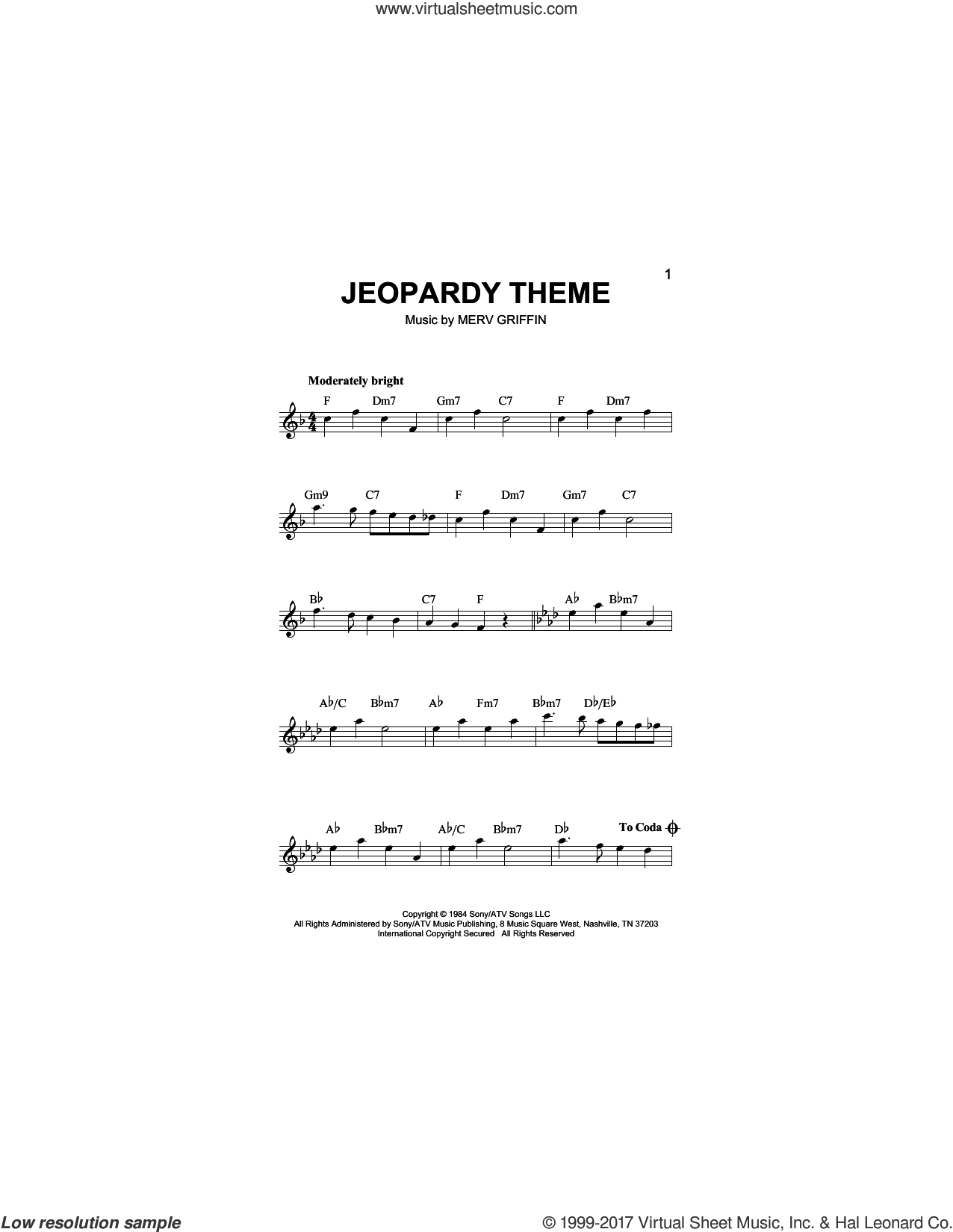 Jeopardy Theme sheet music for voice and other instruments (fake book) by Merv Griffin, intermediate skill level
