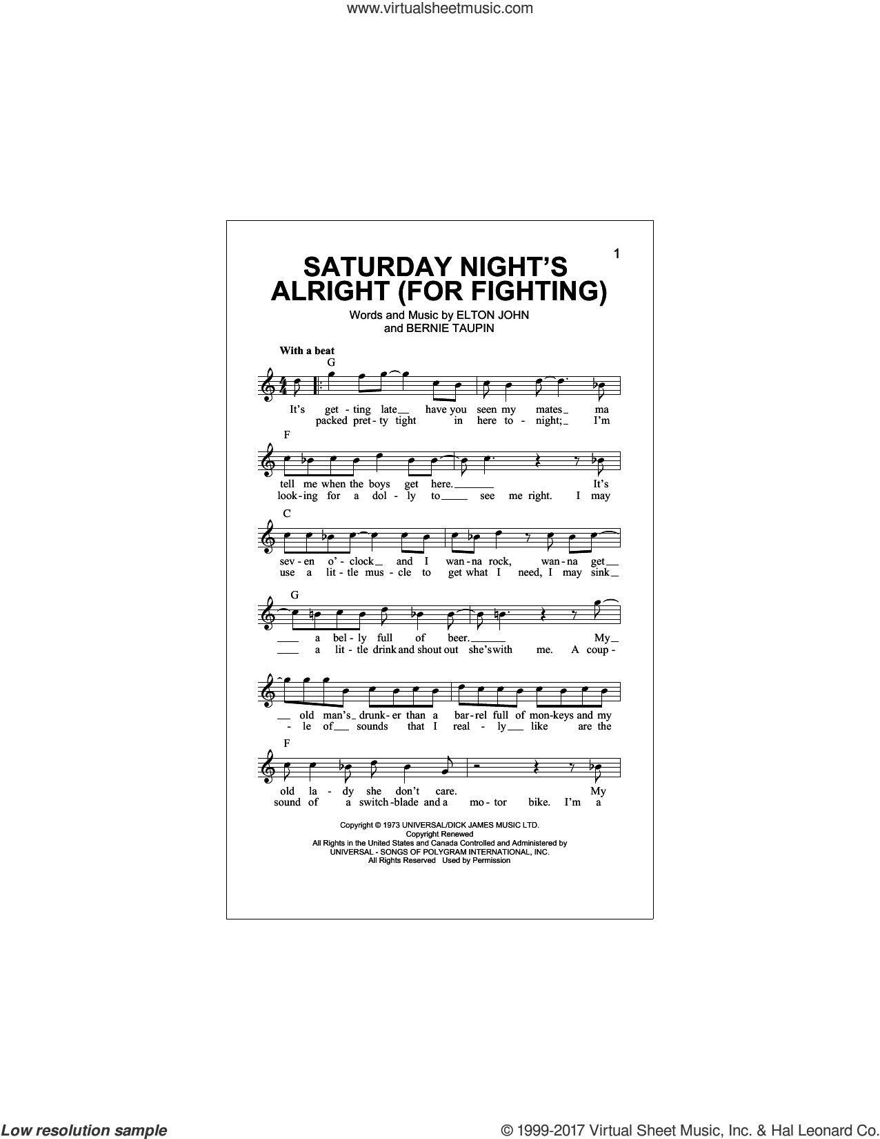 John - Saturday Night's Alright (For Fighting) sheet music (fake book)