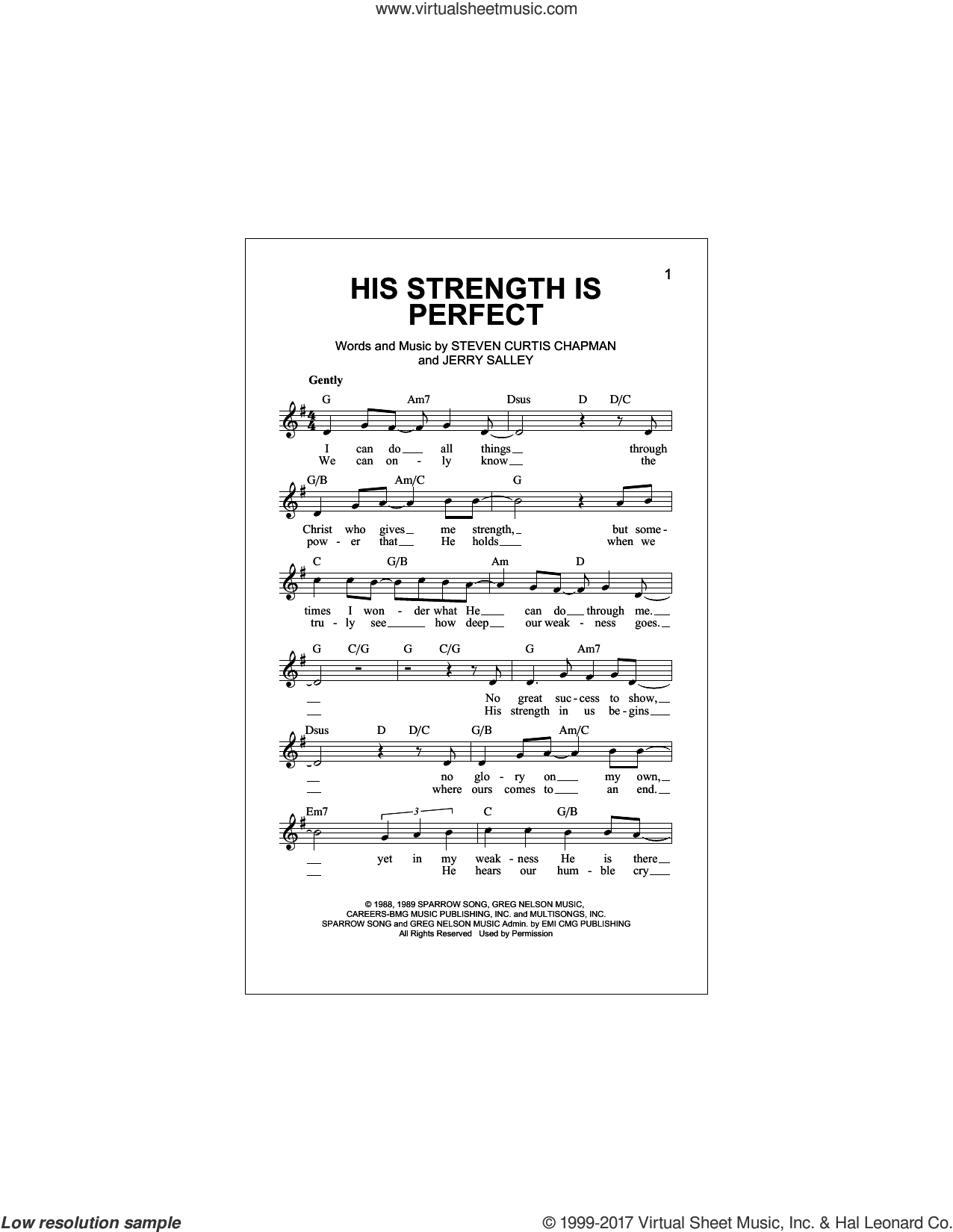 His Strength Is Perfect sheet music for voice and other instruments (fake book) by Steven Curtis Chapman and Jerry Salley, intermediate skill level