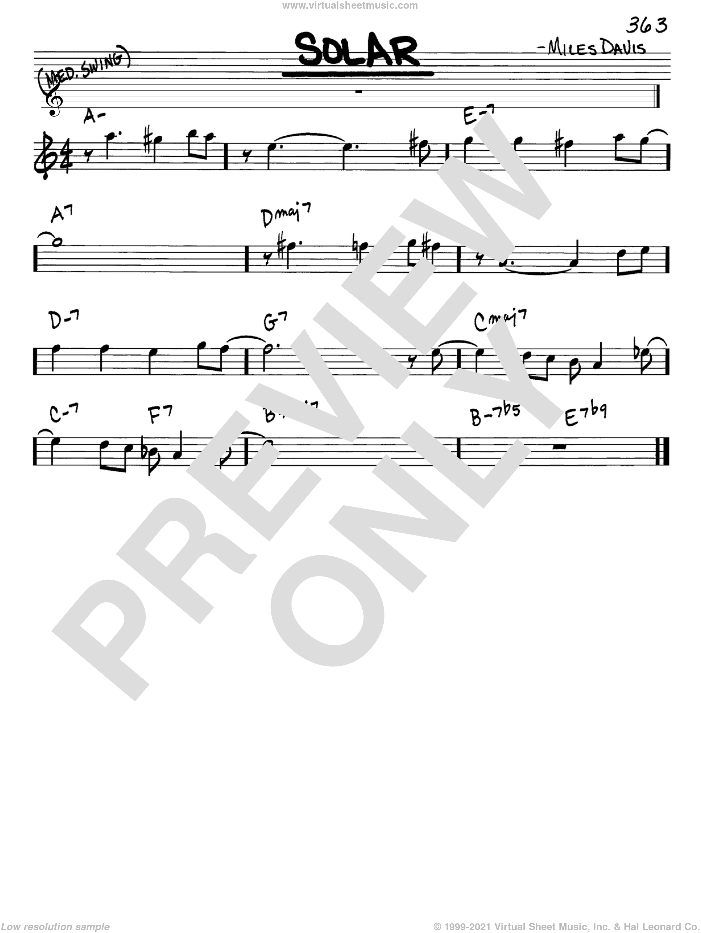 Solar sheet music for voice and other instruments (Eb) by Miles Davis, intermediate voice. Score Image Preview.