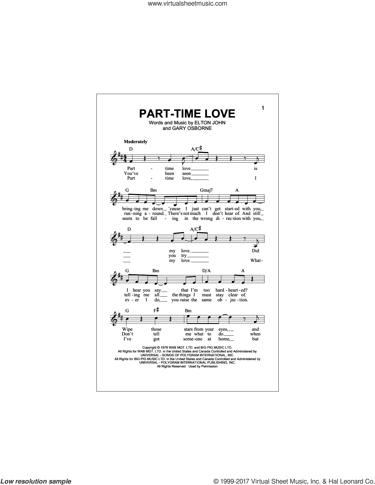 Part-Time Love sheet music for voice and other instruments (fake book) by Elton John and Gary Osborne, intermediate. Score Image Preview.
