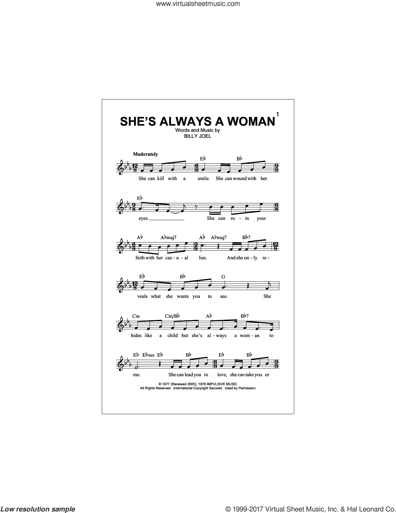 She's Always A Woman sheet music for voice and other instruments (fake book) by Billy Joel, intermediate skill level
