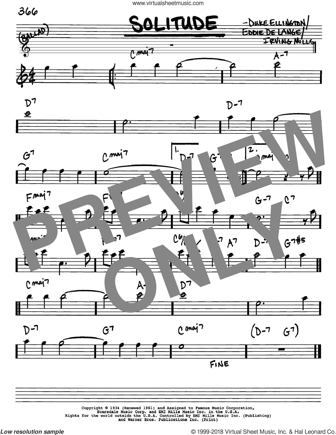 Solitude sheet music for voice and other instruments (Eb) by Duke Ellington, Eddie DeLange and Irving Mills, intermediate voice. Score Image Preview.