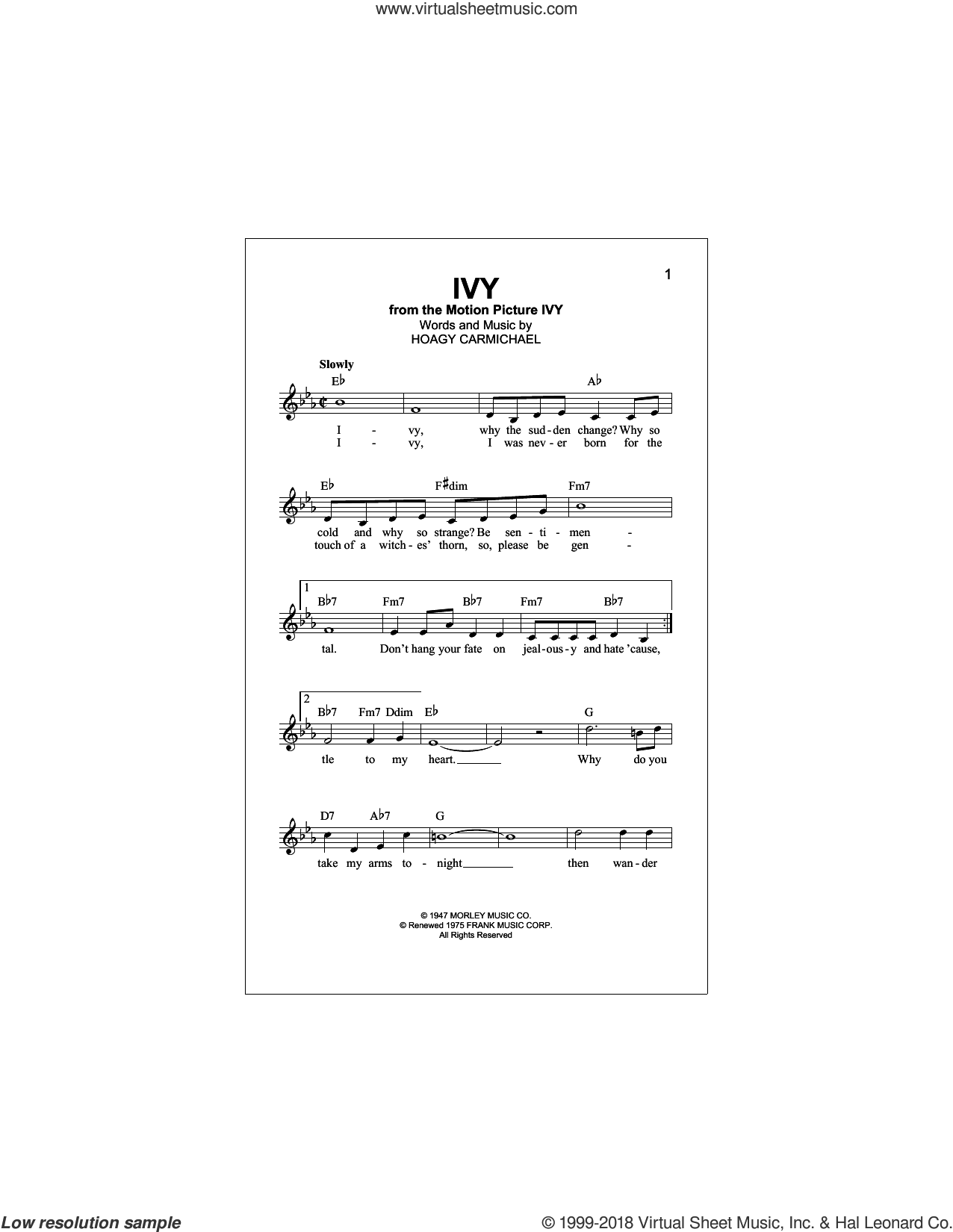 Ivy sheet music for voice and other instruments (fake book) by Hoagy Carmichael, intermediate skill level