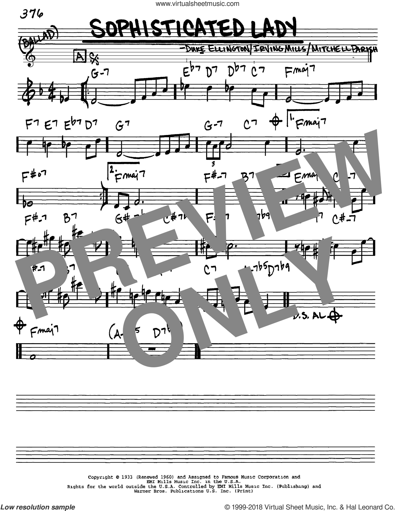Sophisticated Lady sheet music for voice and other instruments (Eb) by Duke Ellington, Irving Mills and Mitchell Parish, intermediate voice. Score Image Preview.
