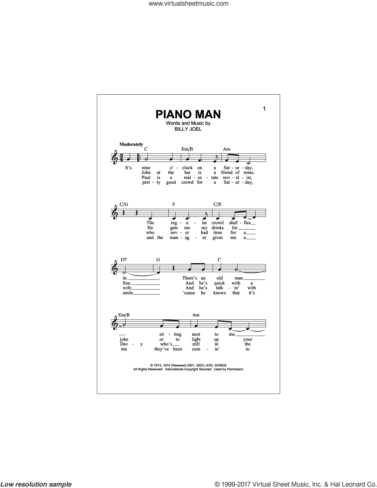 joel piano man sheet music fake book pdf