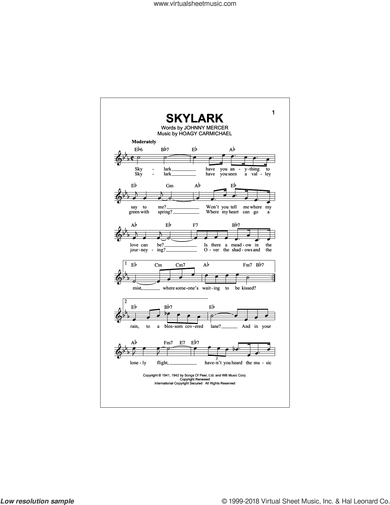 Skylark sheet music for voice and other instruments (fake book) by Hoagy Carmichael and Johnny Mercer, intermediate skill level