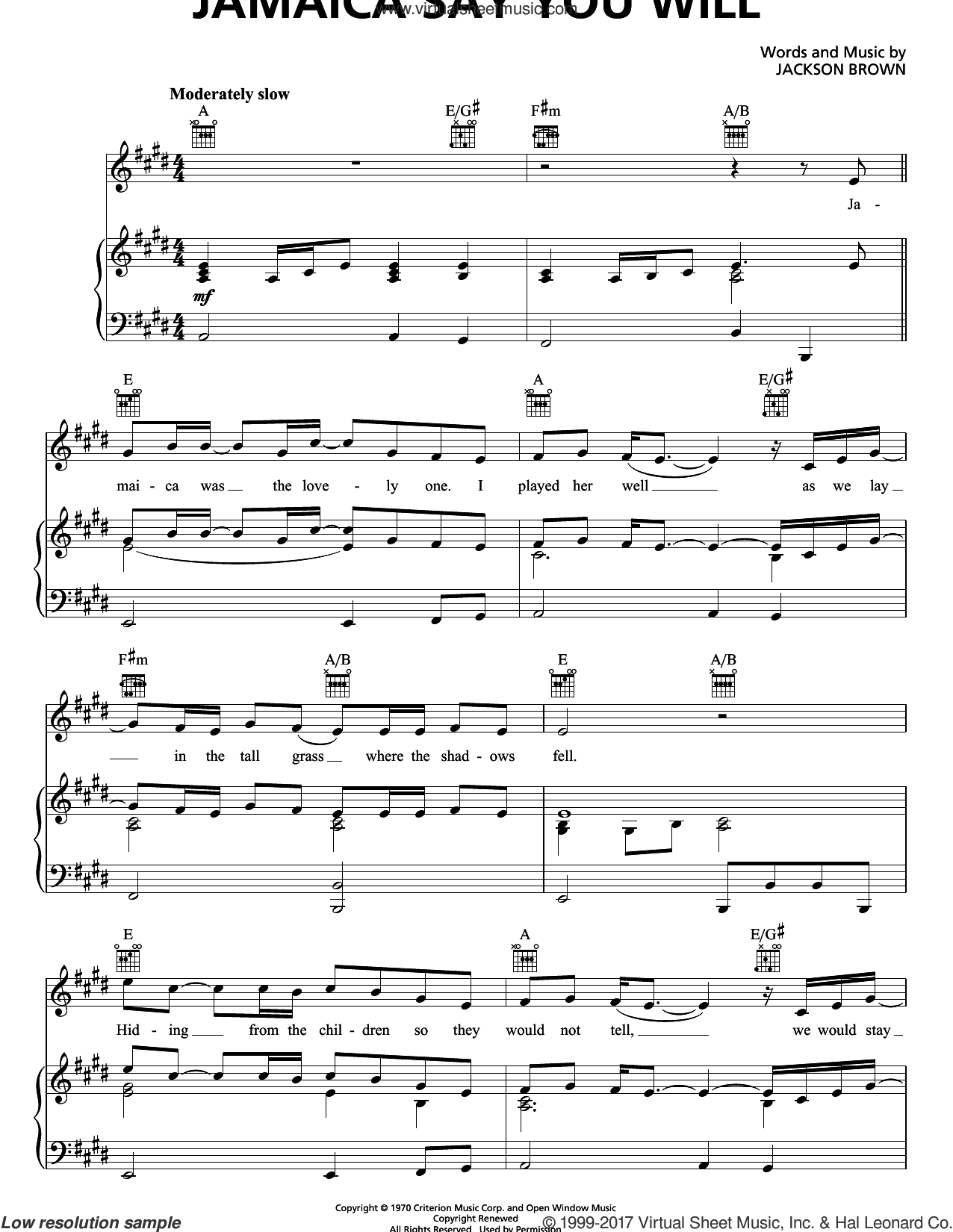 Jamaica Say You Will sheet music for voice, piano or guitar by Jackson Browne, intermediate skill level