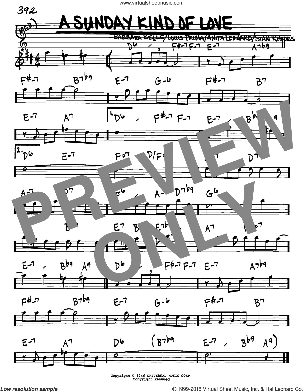 A Sunday Kind Of Love sheet music for voice and other instruments (in Eb) by Louis Prima, Anita Nye, Barbara Belle and Stan Rhodes, intermediate skill level
