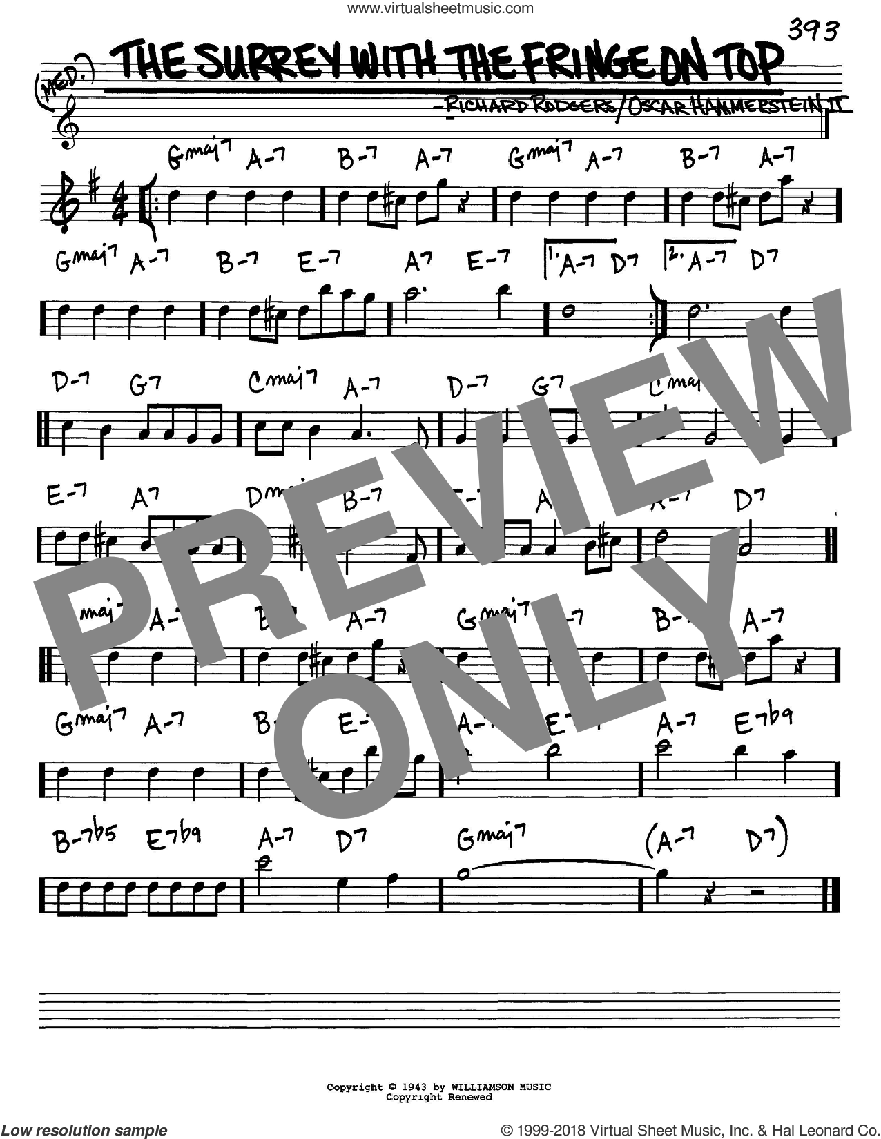 The Surrey With The Fringe On Top sheet music for voice and other instruments (in Eb) by Rodgers & Hammerstein, Oscar II Hammerstein and Richard Rodgers, intermediate