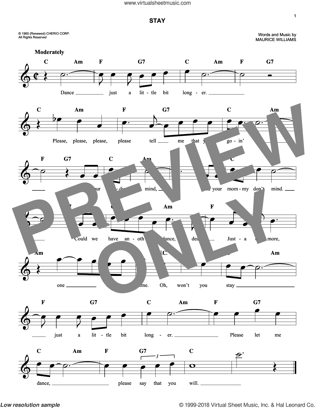 Stay sheet music for voice and other instruments (fake book) by The Four Seasons and Maurice Williams & The Zodiacs and Maurice Williams, intermediate skill level