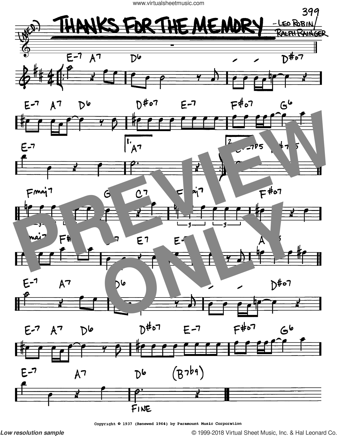 Thanks For The Memory sheet music for voice and other instruments (Eb) by Leo Robin