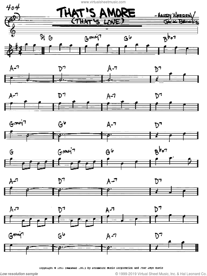 That's Amore (That's Love) sheet music for voice and other instruments (Eb) by Jack Brooks