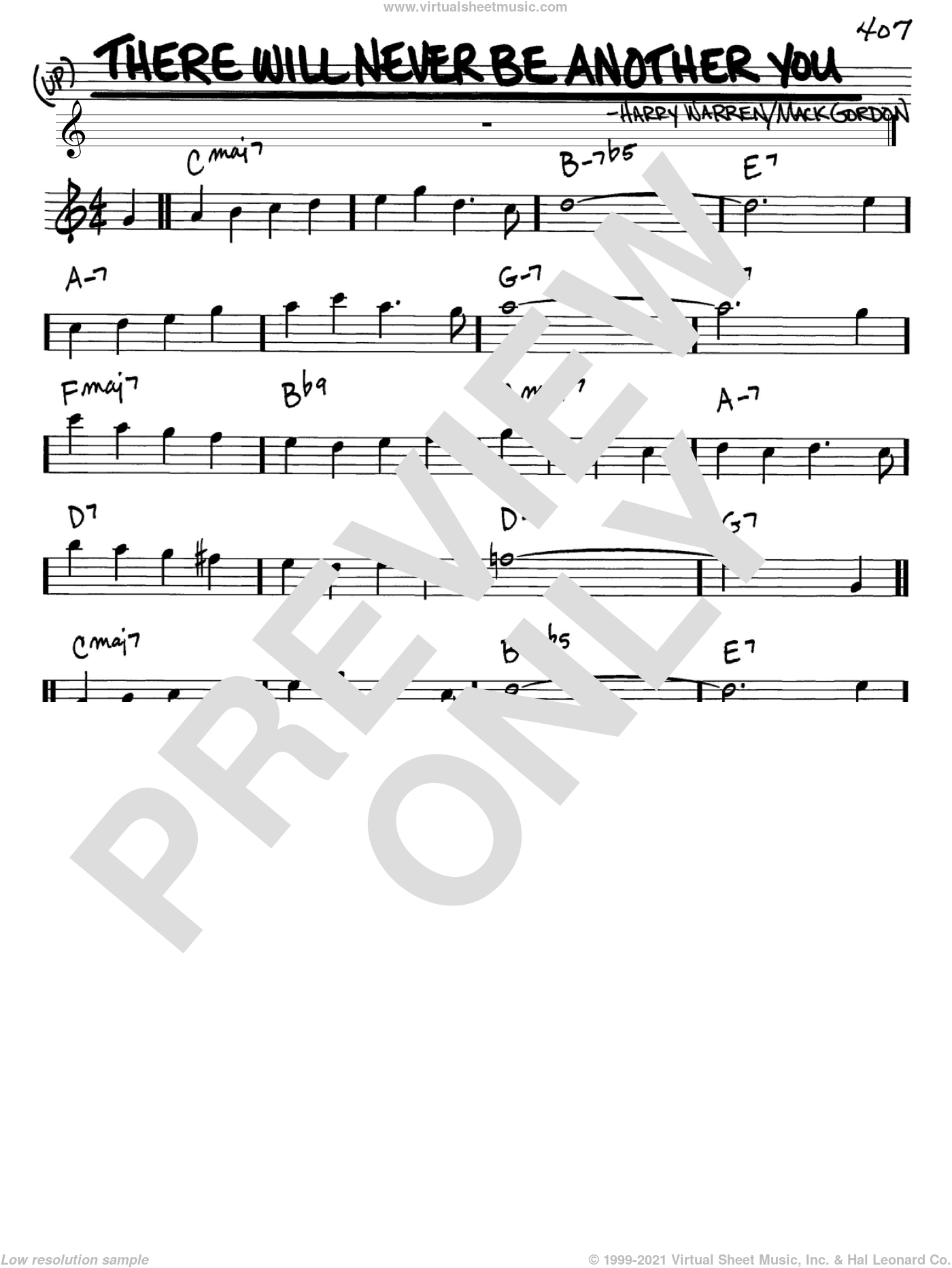 There Will Never Be Another You sheet music for voice and other instruments (Eb) by Harry Warren and Mack Gordon. Score Image Preview.
