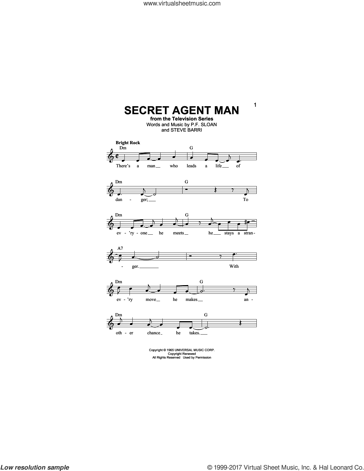 Secret Agent Man sheet music for voice and other instruments (fake book) by Johnny Rivers, P.F. Sloan and Steve Barri, intermediate skill level