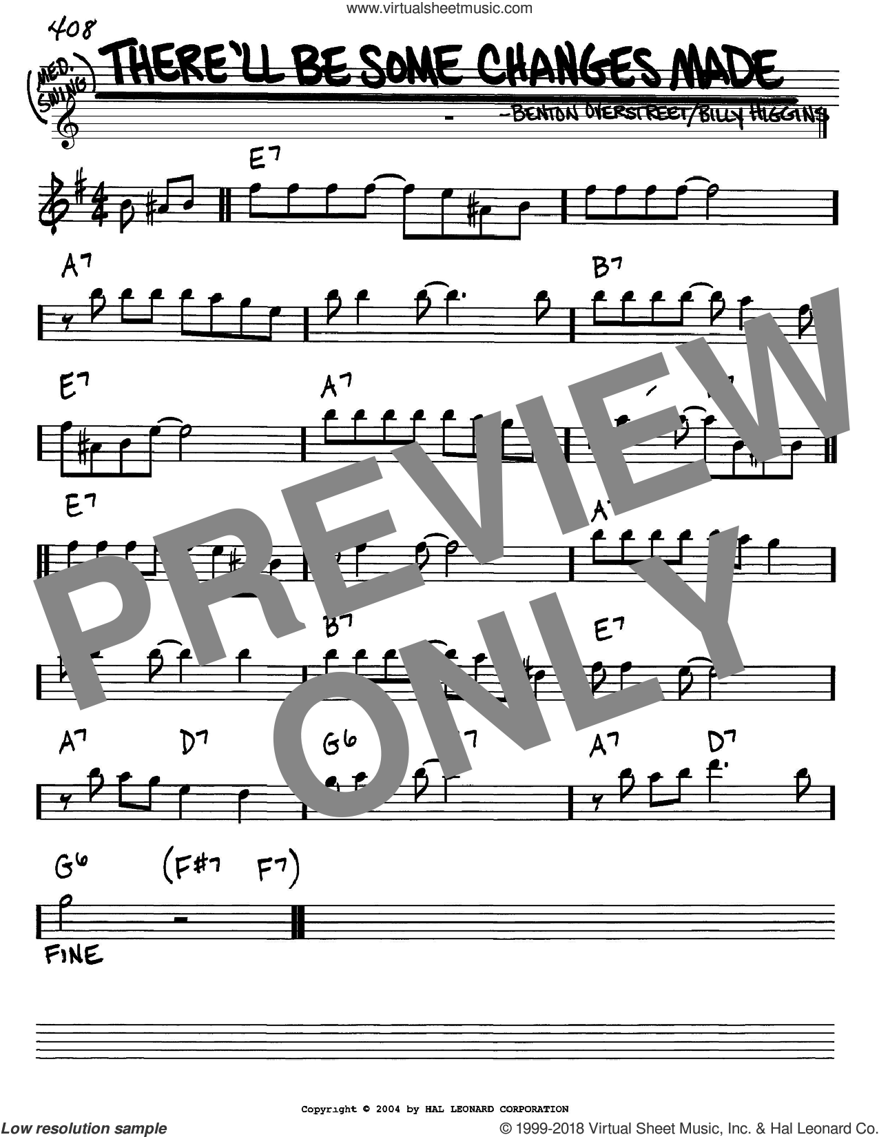 There'll Be Some Changes Made sheet music for voice and other instruments (Eb) by Billy Higgins, intermediate voice. Score Image Preview.