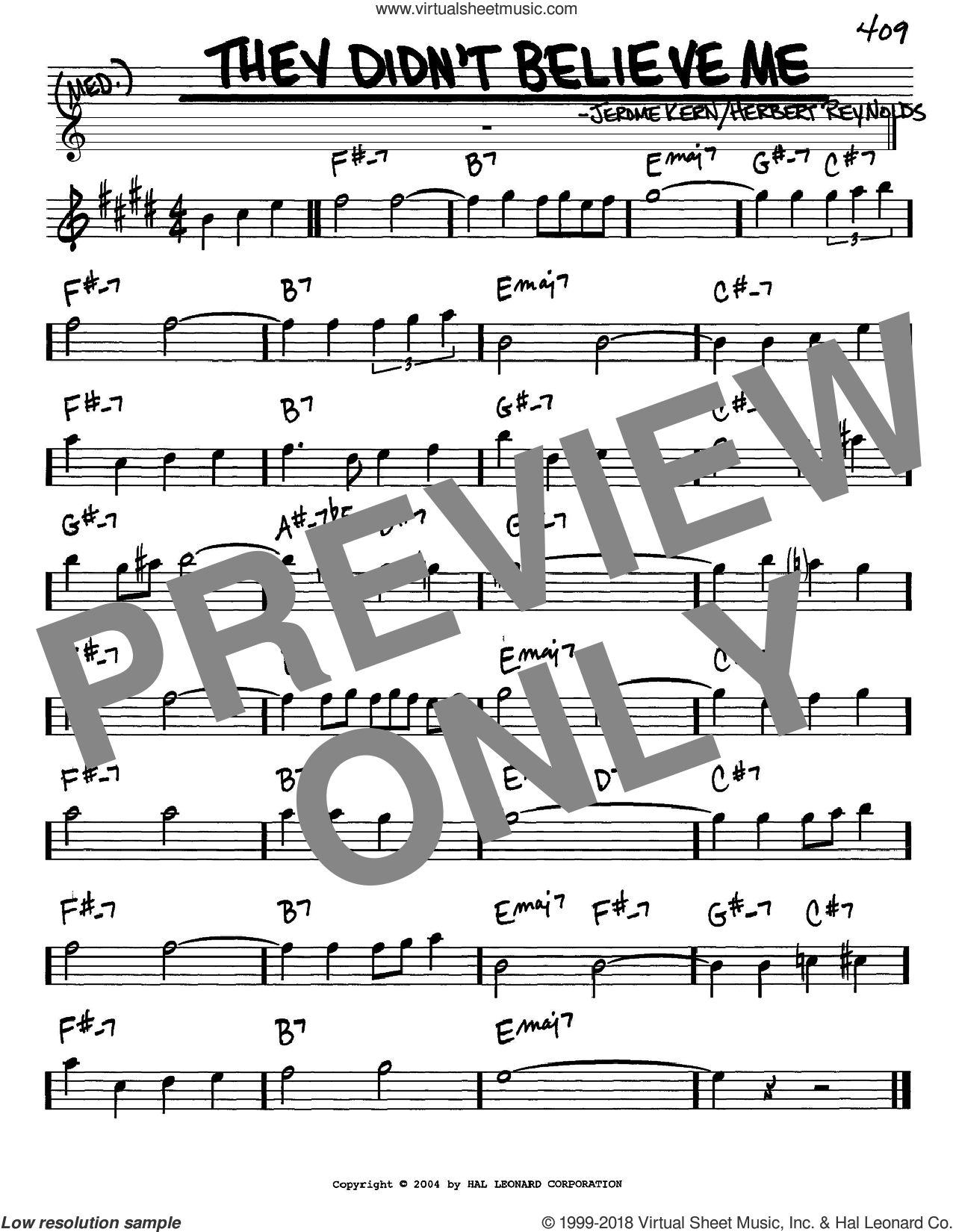 They Didn't Believe Me sheet music for voice and other instruments (in Eb) by Jerome Kern and Herbert Reynolds, intermediate. Score Image Preview.