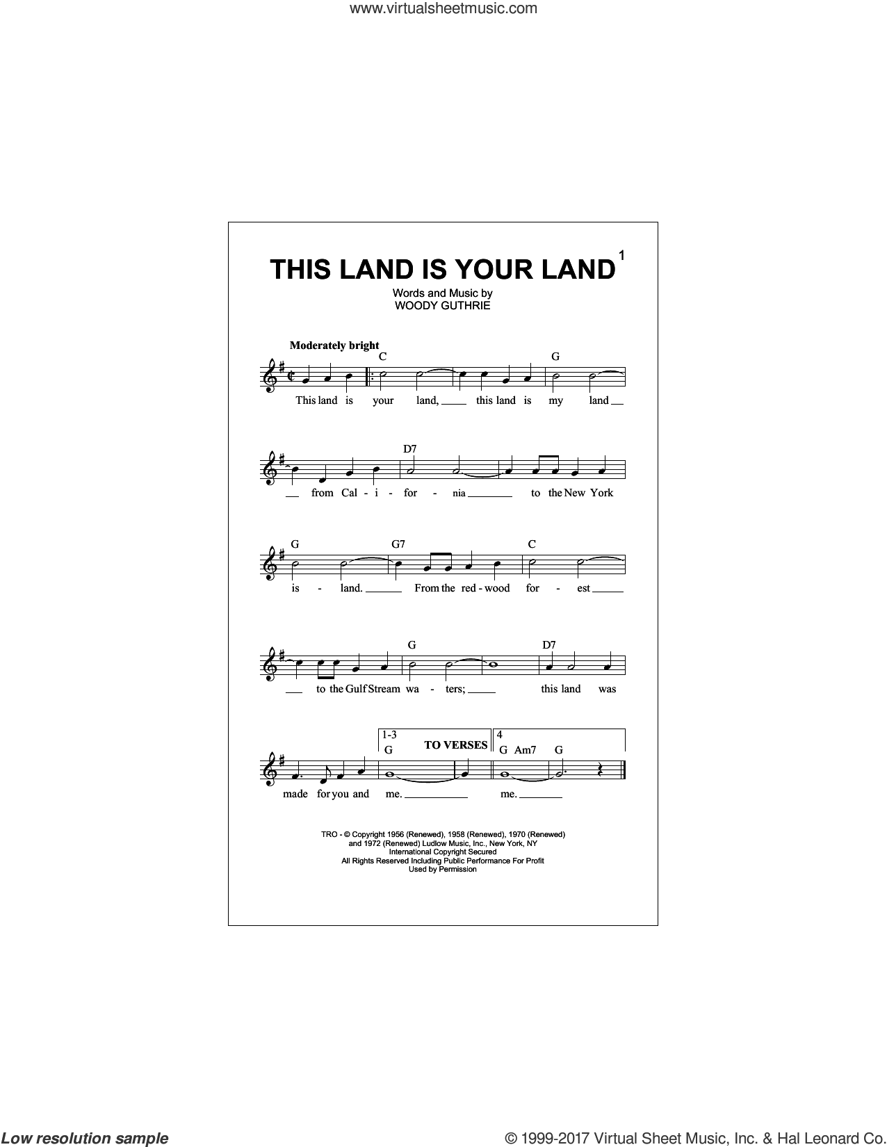 This Land Is Your Land sheet music for voice and other instruments (fake book) by Woody Guthrie, intermediate skill level