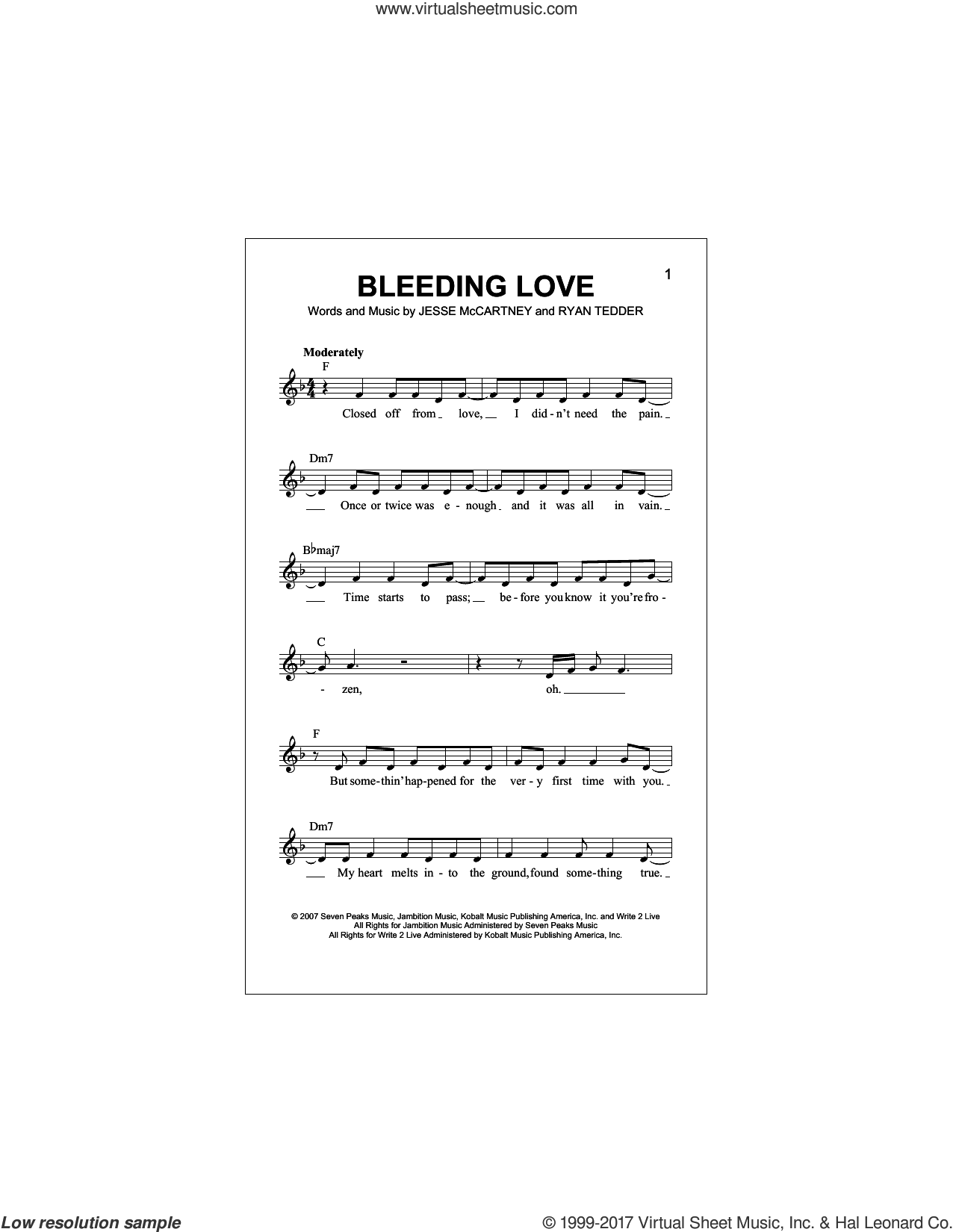 Bleeding Love sheet music for voice and other instruments (fake book) by Leona Lewis, Jesse McCartney and Ryan Tedder, intermediate