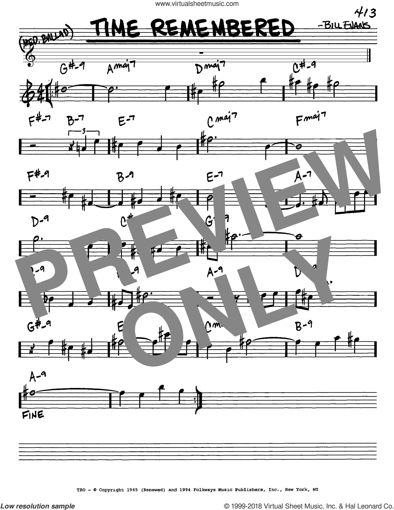 Time Remembered sheet music for voice and other instruments (in Eb) by Bill Evans, intermediate