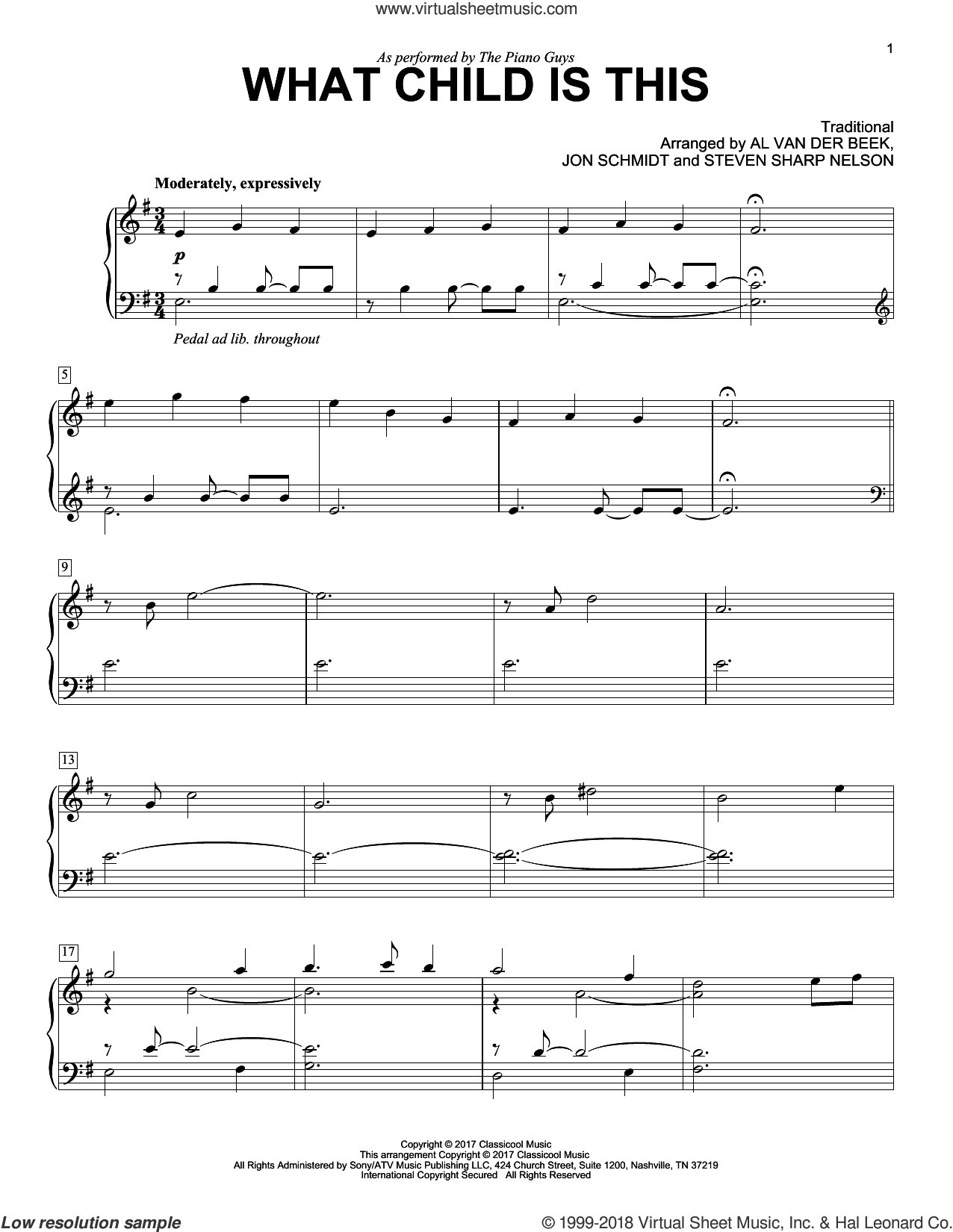 What Child Is This sheet music for piano solo by The Piano Guys, Al van der Beek (arr.), Jon Schmidt (arr.) and Steven Sharp Nelson (arr.), intermediate skill level