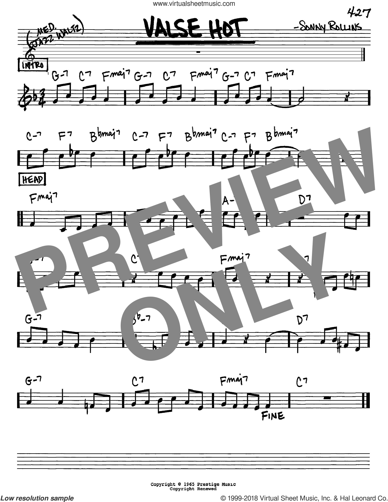 Valse Hot sheet music for voice and other instruments (Eb) by Sonny Rollins, intermediate voice. Score Image Preview.