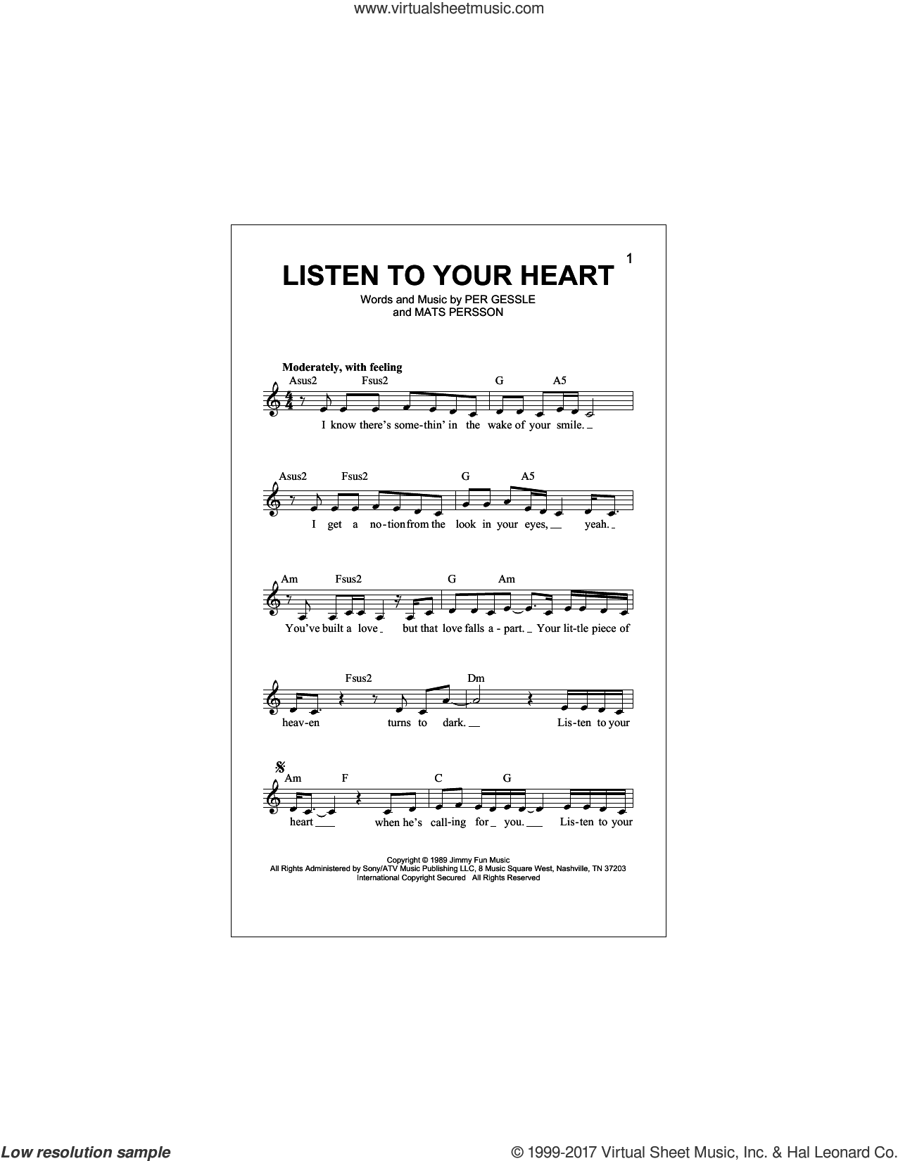 Listen To Your Heart sheet music for voice and other instruments (fake book) by Roxette, Mats Persson and Per Gessle, intermediate skill level