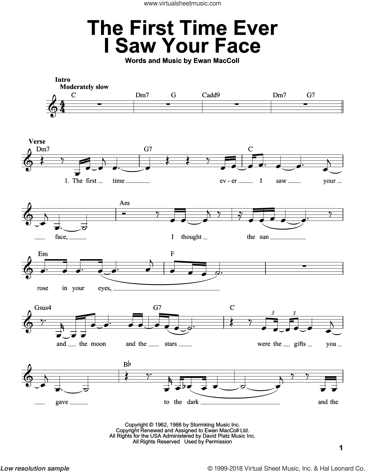 The First Time Ever I Saw Your Face sheet music for voice solo by Roberta Flack and Ewan MacColl, intermediate skill level