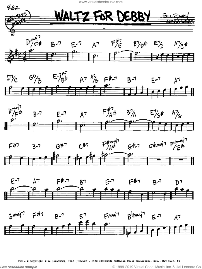 Waltz For Debby sheet music for voice and other instruments (Eb) by Bill Evans, intermediate voice. Score Image Preview.