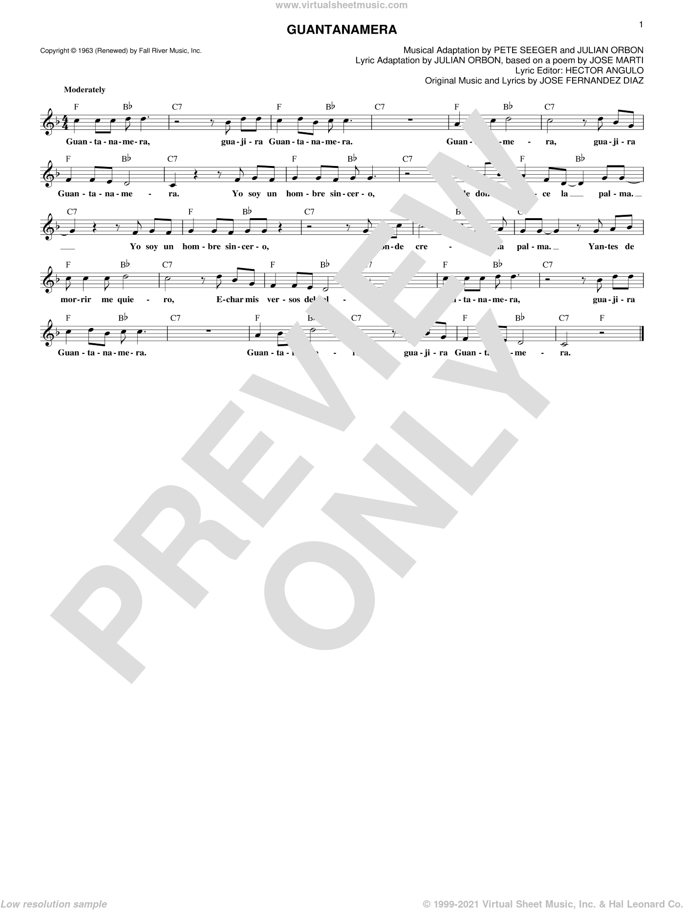 Guantanamera sheet music for voice and other instruments (fake book) by Pete Seeger, Hector Angulo, Jose Fernandez Diaz and Julian Orbon, intermediate skill level