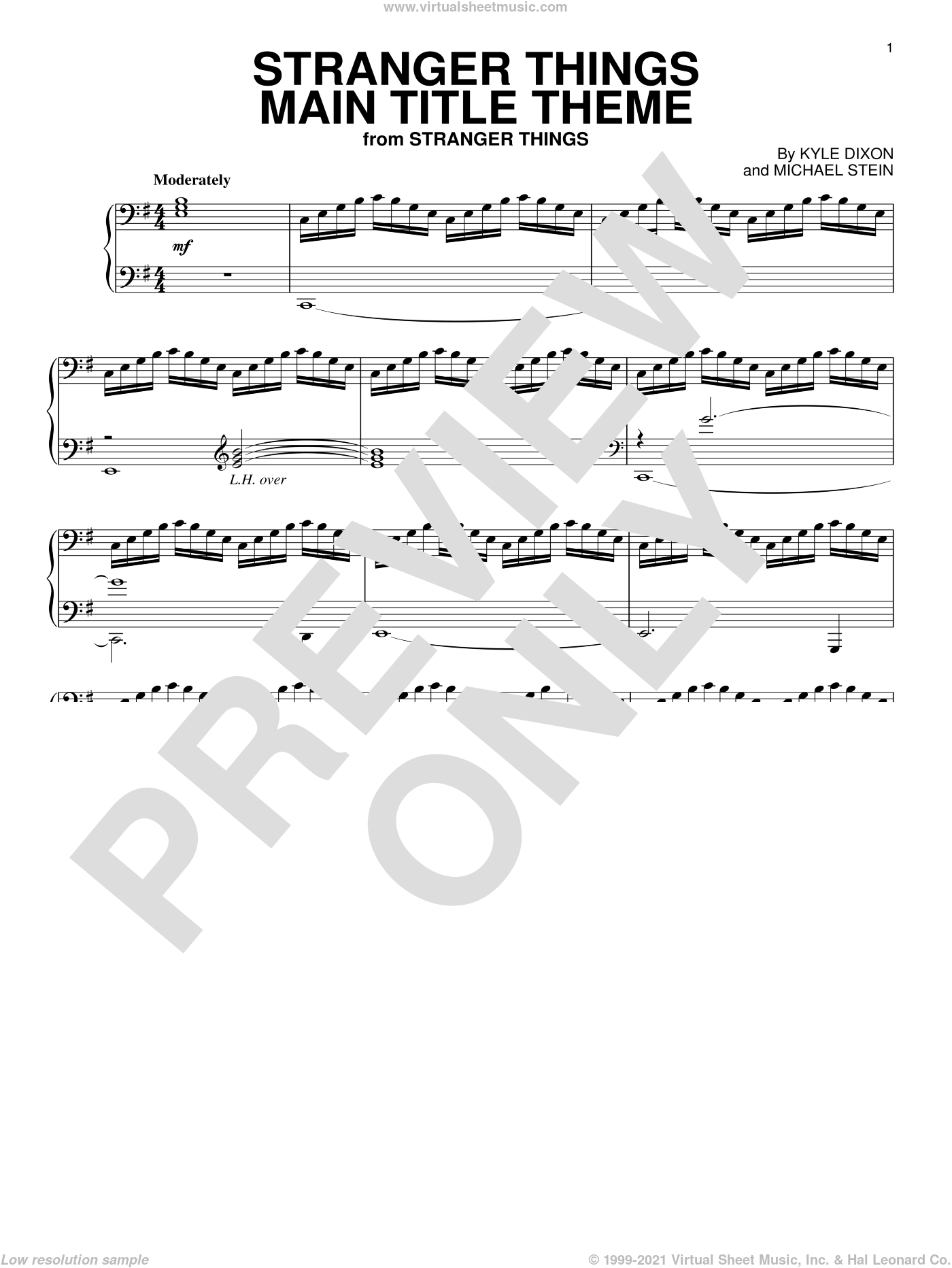 Stranger Things Main Title Theme sheet music for piano solo by Kyle Dixon & Michael Stein, Kyle Dixon and Michael Stein, intermediate skill level
